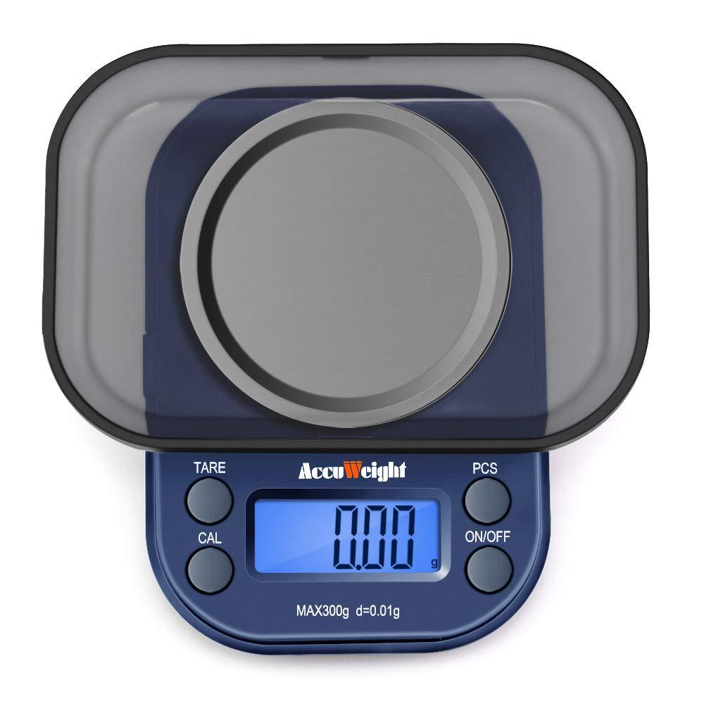ACCUWEIGHT 255 Bilancia Elettronica Mini Bilancia Portatile 300 g / 0,01 g, Bilance Digitali di Precisione con Display LCD Retroilluminato, Funzione Tara e PCS per Oro, Gioielli