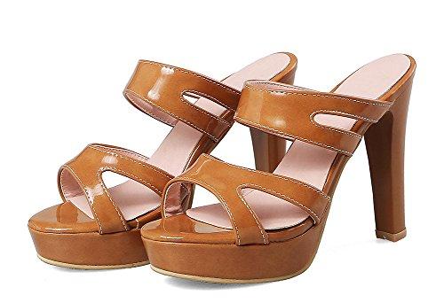 Aisun Women's Dressy Platform High Block Heels Sandals Yellow D8T50