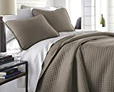 Extra Wide Comforter for King Size Bed Southshore Fine Linens - Vilano Springs Oversized 3 Piece Quilt Set, King/California King, Dark Taupe