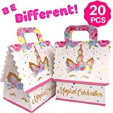 Unicorn Party Favor Bags - Goodie Treat Gift Bag for Girls| Candy, Party Favors Bag Fillers for Unicorn Themed Birthday Party Supplies Decorations or Baby Shower| Pack of 20