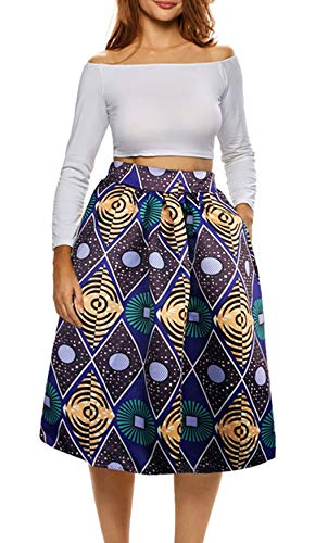 Sew Pleated Skirt - Afibi African Print Skirts for Women Boho Plus Size Flare Pleated Skirts (Large, Picture 5)