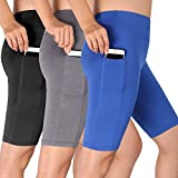 Cadmus Women's High Waist Athletic Running Workout Shorts with Pocket,3 Pack,06,Black,Grey,Blue,Medium