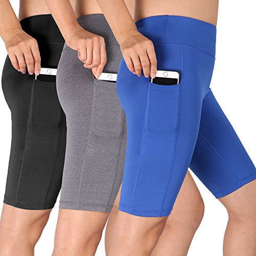 Cadmus Womens High Waist Athletic Running Workout Shorts With Pocket 3 Pack 06 Black Grey Blue X Large