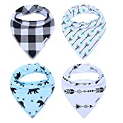 Cute Bandana Bibs for Babies Boys' Teething, Feeding and Drooling, Cool Baby Gifts Set, 100% Organic Cotton