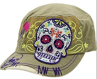 Khaki Sugar Skull Cross Flowers Rhinestone Day of Dead Fashion Cadet Army Style