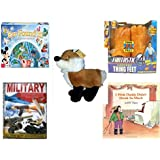 """Children's Gift Bundle - Ages 6-12 [5 Piece] - World of Disney Eye Found It Board Game - Fantastic 4 Thing Feet Toy - Diamond Plush Toys Fox 13"""" - Military Support Systems Hardcover Book - I Wish Da"""