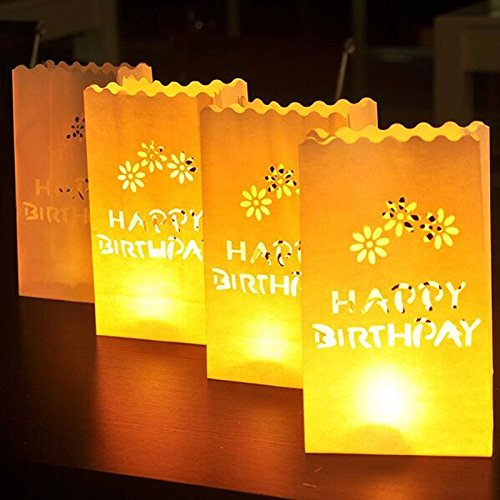 Fascola 20 Pack HAPPY BIRTHDAY Paper Luminary Bag Tea Light Votive Candle Holder Bag 1st Birthday Beach Party Decoration Centerpieces