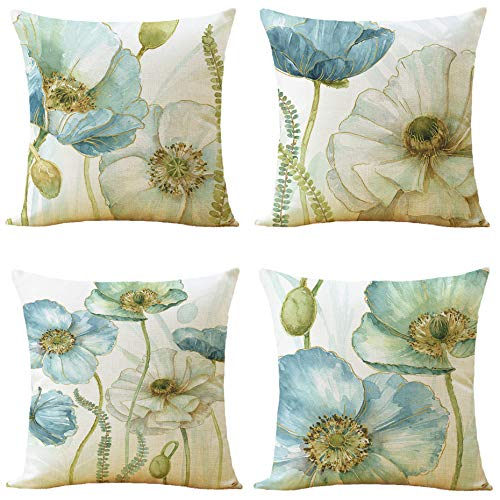 WOMHOPE Set of 4 Vintage Flower Decorative Throw Pillow Covers Pillow Cases Cushion Cases 18 x 19 Inch for Living Room, Couch and Bed (Light Blue)