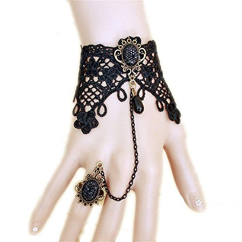 Halloween Costumes Jewelry (UdobuyGothic Retro Lace Slave Bracelet With Ring Wedding Wristband Black Flower Ring Bracelet)
