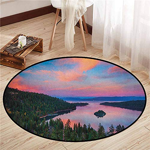 (Non-Slip Round Rugs,Lake Tahoe,California Photography Rustic Themes Sundown Time Freshwater Sierra Nevada Lake,Anti-Slip Doormat Footpad Machine Washable,4'11