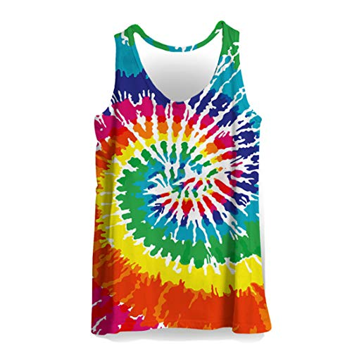 - Men's 3D Printed Tie Dye Creative Funny Sleeveless Tank Top Shirts B03393 3XL