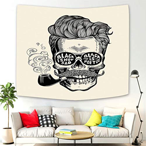 home wall hanging nature art fabric tapestry Indie Hipster Gentleman Skull with Mustache Pipe and Eyeglasses with Inscription Vintage Black Cream tapestry for dorm room,bedroom,living room decorations