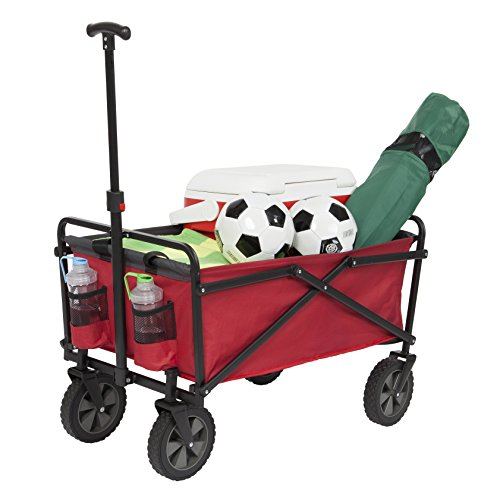 Powder Wagon - Seina Collapsible Folding Utility Wagon Garden Cart Shopping Beach Outdoors, Red