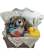 Baby Gift Basket with Plush - Unisex, Set of 2 Cotton Onesie, Fleece Blanket and a Receiving (swaddling) Blanket, Rubber Ducky Set, socks and more.