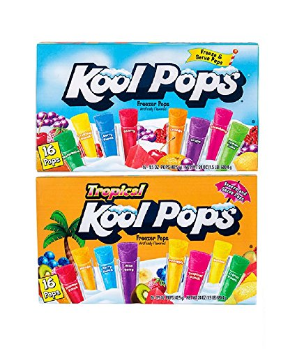 (Kool Pops Freezer Pops Fruit Flavored and Tropical Flavored Ice Pops ( 15 flavors ) 1.5 oz each)