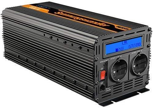 EDECOA Inversor 24v 230v convertidor 3000w onda modificada con pantalla LCD y mando a distancia