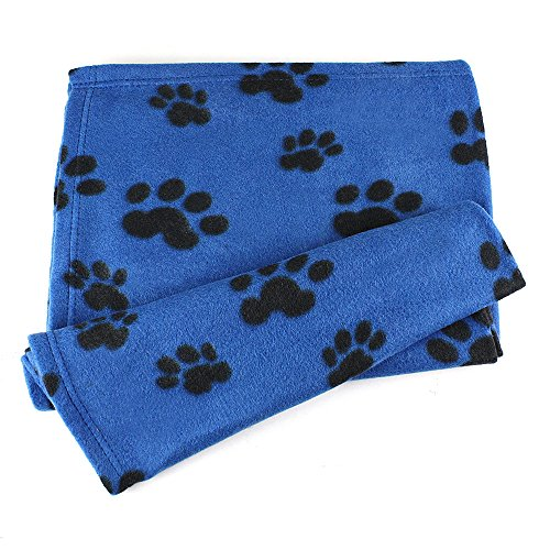 eBuyGB Large Paw Print Fleece Pet Blanket - 80 x 120 cm (Blue) Dog Blue Paw Prints