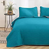 Bedspread 3 Piece Reversible Coverlet Sets Summer Quilt Two-Color Measure 86'''x86'' with 2 Matching Shams Teal and Gray