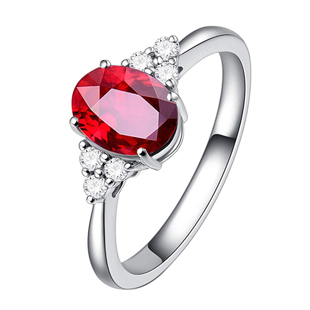 Booboda JJZ353 Natural Pigeon Blood Ruby ​​Ring, 18k Gold and Diamonds Diamond Ring, Ladies Dress Ring(Red8#)