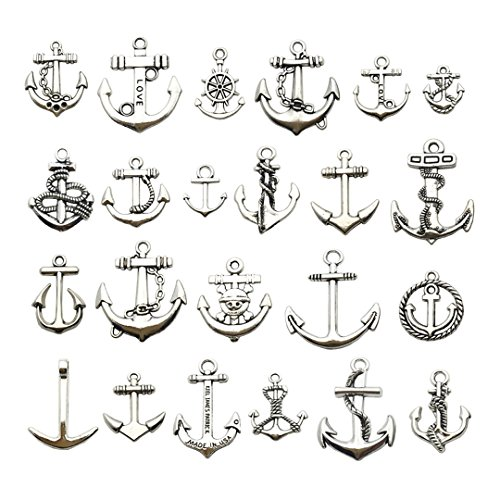 100g Anchor Charms Collection - Mix Metal Alloy Pendants for Jewelry Making DIY Findings (Silver Anchor HM63)