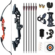 Monleap Recurve Bow and Arrows for Adults 30 40 50lb Archery Set Right Hand Takedown Bow Aluminum Alloy Riser