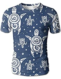 Turtles Pattern On Blue Man's Crew Neck Design T Shirt Short Tees Personality