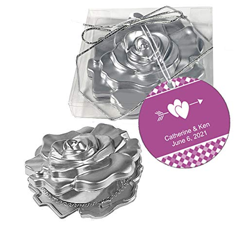 Fashioncraft, Wedding Party Bridal Shower Favors Gifts, Realistic Rose Design Mirror Compacts, Set of 50, Personalized Custom Violet Tags