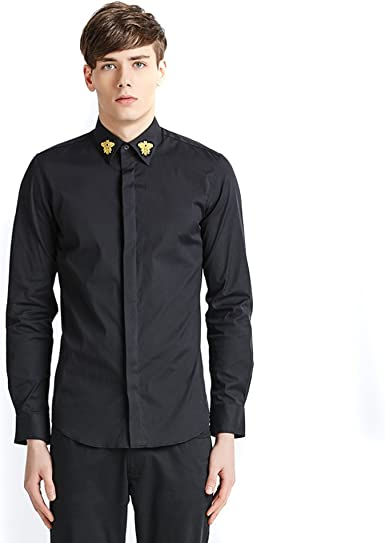 Chaqueta de camisa de moda borde negra de Iainswan Hombres Negro S negro L: Amazon.es: Ropa y accesorios