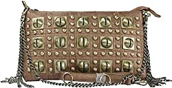Arcadia U.S.A Purse with Metal Fringe And Brass Tone circle Studs Long Shoulder StrapZC3016-BZ