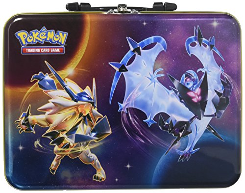 Pokemon TCG: 2018 Collectors Chest Tin | Collectible Trading Card Set, 3 Ultra Rare Foil Promo Form Lycanroc, Dusk Mane, Dawn Wings Necrozma | 5 Booster Packs, Stickers and More