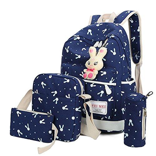 - Vibola Girls Backpack, 4 Sets Rabbit Animals Schoolbags Rucksack Shoulder Bag Students Daily Carry Handbag Travel Knapsack (Blue)