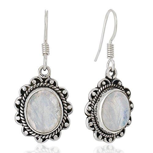 Silver Moonstone Earrings - 925 Oxidized Sterling Silver Moonstone Gemstone Oval Rope Edge Vintage Dangle Earrings 1.4