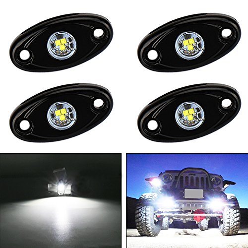 (Catinbow LED Rock Light with 2 Pods Light Waterproof IP68 Car Truck JEEP ATV SUV UTV Offroad Motorcycle Underbody Glow Trail Rig Lights - White)