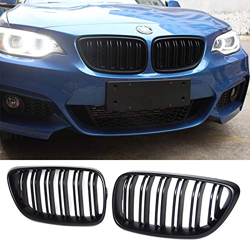 Zonsoon ABS Car Front Grilles Double-slat Replacement Grills Bumper Compatible with BMW 2 Series F22 F23 220i 228i 230i M235i F87 M2 2014 2015 2016 2017 2018 Gloss Black