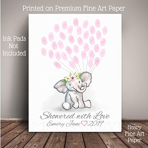 Watercolor Elephant Baby Shower Nursery Print - Guest Book Alternative - Guests make thumbprint balloons - - Water Thumbprint
