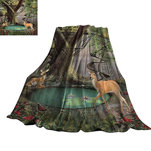 WinfreyDecor Woods Tree House Decorative Throw Blanket Natural Landscape Greenery Art Wild Jungle Wildlife Enchanted Mystic Forest Fairy 90