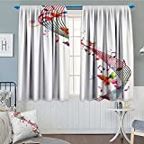Music Decor Room Darkening Wide Curtains Colorful Artwork With Music Notes Butterflies Springtime Party Decorative.jpg Decor Curtains By 84″x84″