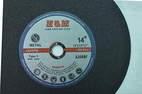 "14"" x 1/8"" x 1"" Metal CUT-OFF WHEELS chop saw blades - 10 Pack"