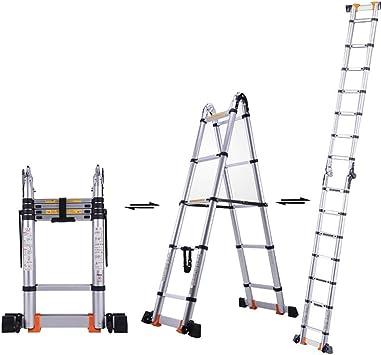 LADDER Escaleras Telescópicas, Escalera Telescópica Portátil de Aluminio, Escalera de Extensión Multipropósito para Trabajo Pesado para Ingeniería Cargo Loft, Capacidad de 330 lb,2.9m / 9.5ft: Amazon.es: Bricolaje y herramientas