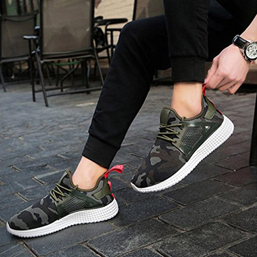 mode QinMM Vert chaussures camouflage Sports d'exécution baskets Sneaker respirant sangles ceinture Hommes tHSwqBaa