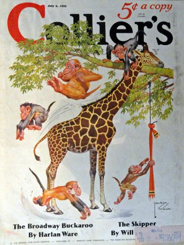 Lawson Wood, Collier's magazine art,1935 cover art by Lawson Wood [cover only] Color Illustration, Print art (monkeys playing on a giraffe) oringial vintage 1935 Collier's Magazine Cover