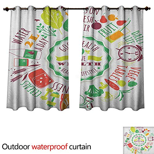 Anshesix Fitness 0utdoor Curtains for Patio Waterproof Good Health is Above Wealth Wellness Motivation Water Fruits Fitness Walk Cereals W63 x L63(160cm x 160cm)