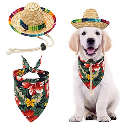 BINGPET Dog Sombrero Hat with Bandana Hawaii Style, Party Hats Sun Hat Beach Mexican Hat for Small Dogs]()