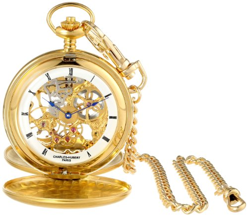 - Charles-Hubert, Paris 3780-G Gold-Plated Mechanical Pocket Watch