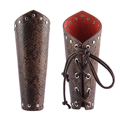 AZORA Leather Arm Guards Archery Gauntlet Wristband Medieval Leather bracers Viking Cosplay Wrist Guard for Men Women Kids (2PCS Pack) -