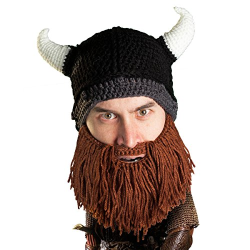 Beard Head Viking Looter Beard Beanie - Funny Knit Horned Hat and Fake Beard Brown -
