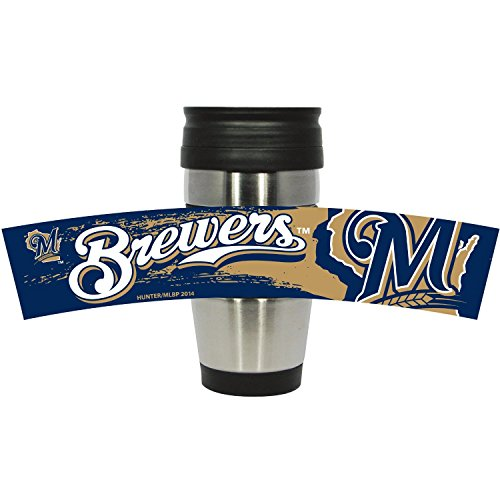 MLB Milwaukee Brewers Stainless Steel Travel Tumbler with PVC Wrap, 15-Ounce, Team Color (Glassware Mlb)
