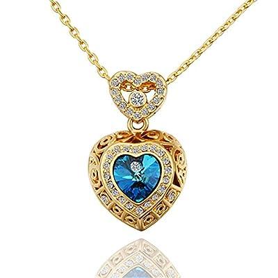LovEnter 18K GP Gold Plated Blue Crystal Filigree Heart Locket Pendant Necklace