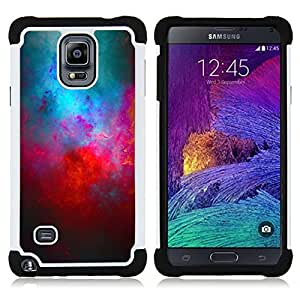 Dragon Case- Dise?¡Ào de doble capa pata de cabra Tuff Impacto Armor h??brido de goma suave de silicona cubierta d FOR Samsung Galaxy Note 4 SM-N910 N910- GALAXY MODERN UNIVERSE ART BLUE RED COSMOS