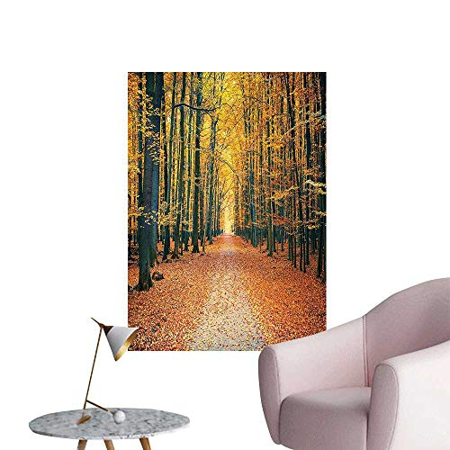 "Wall Stickers for Living Room Romantic Autumn Alley in The and Picture Print Olive Brown Paprika Vinyl Wall Stickers Print,32""W x 56""L"
